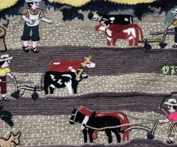 embroidered 'transporting wheat' tapestry